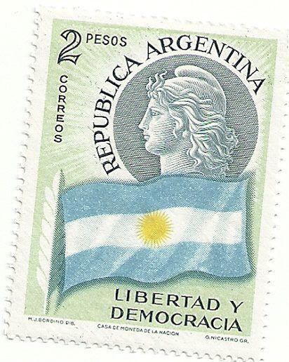 """Libertad y Democracia"" - Rep. Argentina, 2 pesos.   -lbk-"
