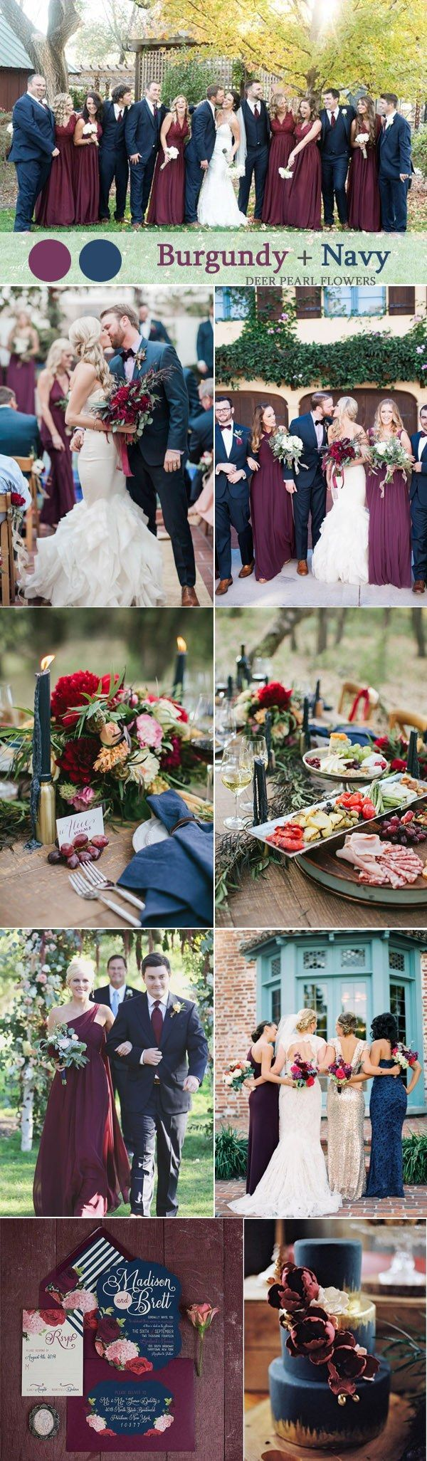 Burgundy and gold fall wedding color ideas / http://www.deerpearlflowers.com/burgundy-and-navy-wedding-color-ideas/