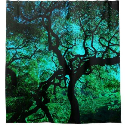 Under The Tree in Turquoise Shower Curtain - blue gifts style giftidea diy cyo