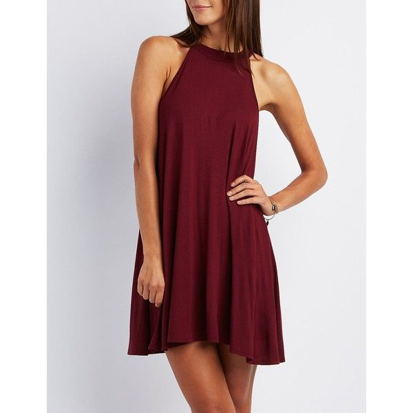 Charlotte Russe Mock Neck Shift Dress ($20) ❤ liked on Polyvore featuring dresses, maroon, shift dress, red high neck dress, red sleeveless dress, charlotte russe and maroon dress
