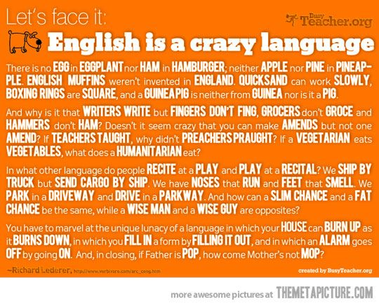 English is a crazy languageThoughts, Schools, Quotes, Hard Time, Crazy Languages, Learning English, Friday Funny, English Languages, Teachers