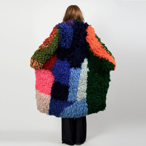 Vintage 70s Shag Carpet Coat, created by individually rug-hooking each piece of yarn shag onto a normal open-front cardi!