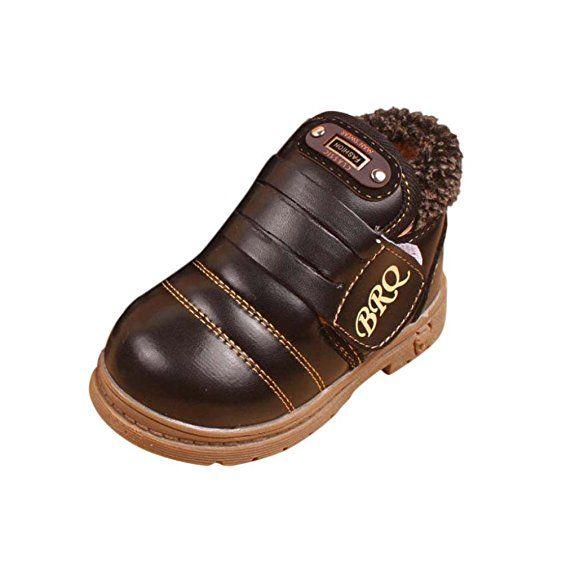 OverDose Unisex-Baby Kinder Mädchen Jungen Winter dicken Schnee stiefel Leder Schuhe Schnee schuhe mit Baumwolle (1-6Jahre alt) (25, Schwarz)