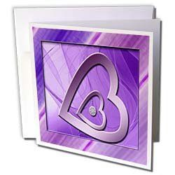 """Beverly Turner Heart Design - Two Hearts with Jewel, Purple - Greeting Cards-6 Greeting Cards with envelopes by Beverly Turner Photography. $10.49. Two Hearts with Jewel, Purple Greeting Card is a great way to say """"thank you"""" or to acknowledge any occasion. These blank cards are made of heavy duty card stock with a gloss exterior and a matte interior for smudge free writing. Cards are creased for easy folding and come with white envelopes. Available in sets of 6 and 12."""