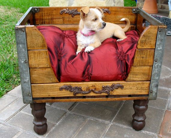 Upcycled milk crate as a dog bed