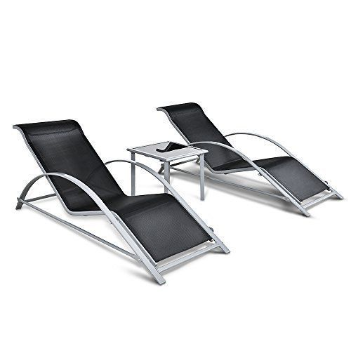 Outdoor Patio 3 Piece Chair Table Set Pool Chairs Lounger Modern Anti-Rust NEW #Kbrand