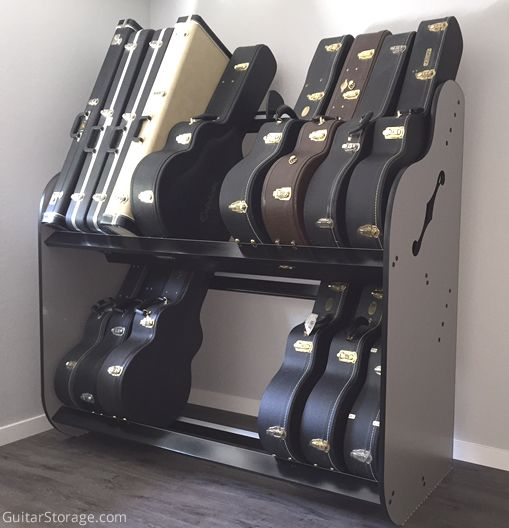 This customer used the BandRoom Double-Stack™ Guitar Shelf Rack to organize their collection. More details at https://www.guitarstorage.com/shop/case-shelf-rack/