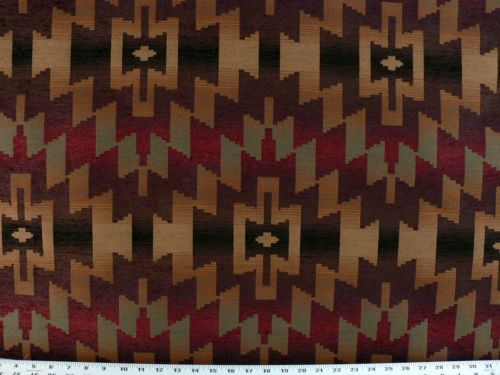 Drapery Upholstery Fabric Chenille Southwestern Woven Design   Chocolate Part 63