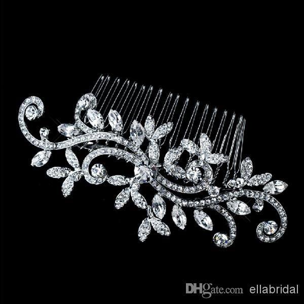 Mariage Vintage cheveux bijoux cheveux Bridal peigne cristal mariage Floral cheveux accessoire casque classique argent tourbillon de fête nuptiale couvre-chefs
