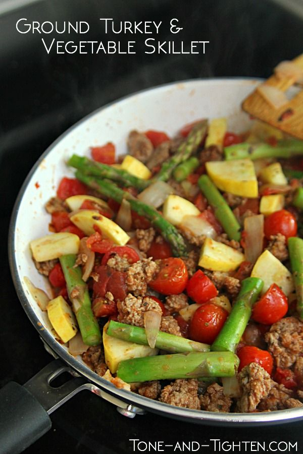 Healthy, protein-packed ground turkey and vegetable skillet you make in one pan. From Tone-and-Tighten.com