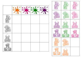 Free printable, werken met eenvoudige tabellen / rekenspelletjes