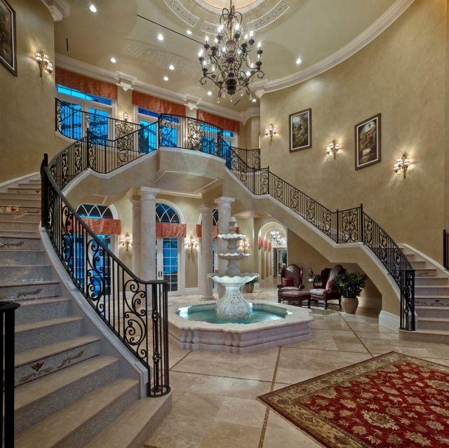 Treppenhaus mediterran marmor Fontäne Indoor-Brunnen Kunstobjekt-Beleuchtung Kronleuchter