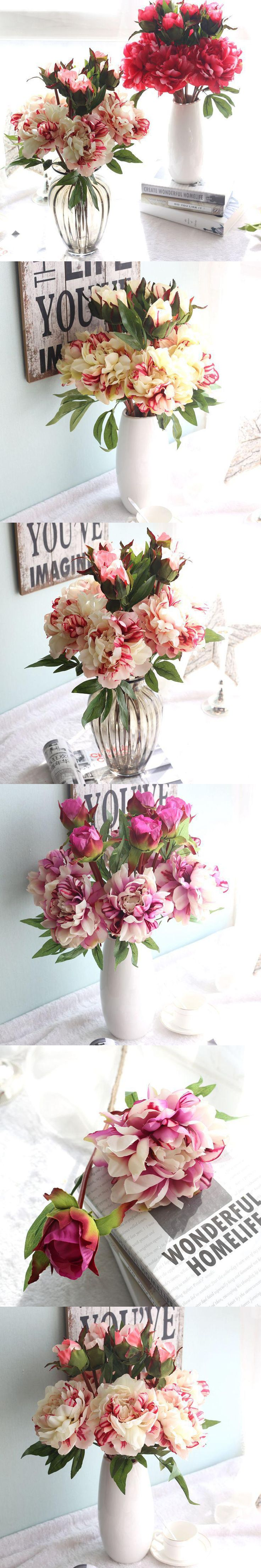 Vivid Artificial Peony Flowers 2 Heads Real Touch Silk Peony Flower&wreaths for Wedding Home Party Decoration