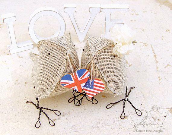 British + American lovebirds cake topper