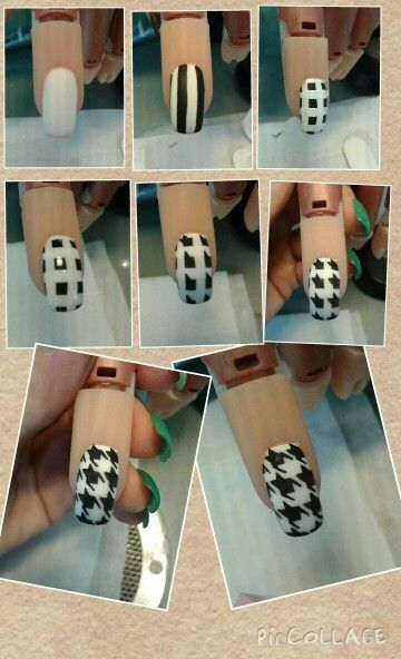 Step by step nail art black and white