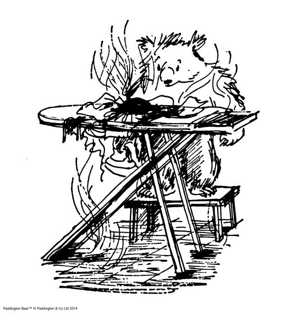 'He stared mournfully at Mr. Curry's ironing board. Or rather, to be strictly accurate, he directed his gaze towards a tightly compressed bundle of brown and white material which was lying in the middle, and from which rose a steady stream of dense, black smoke.'  From 'Paddington Takes the Test' by Michael Bond