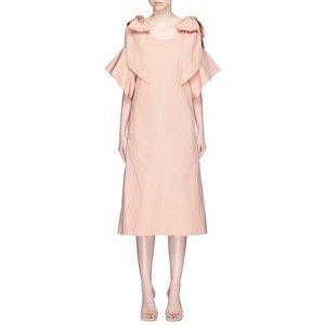 Chloé Knotted cold shoulder poplin dress