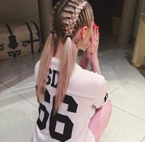 Love these cute double braided pigtails. Double braids are a nice style for getting guys used to having their hair done. And they're cute and functional!