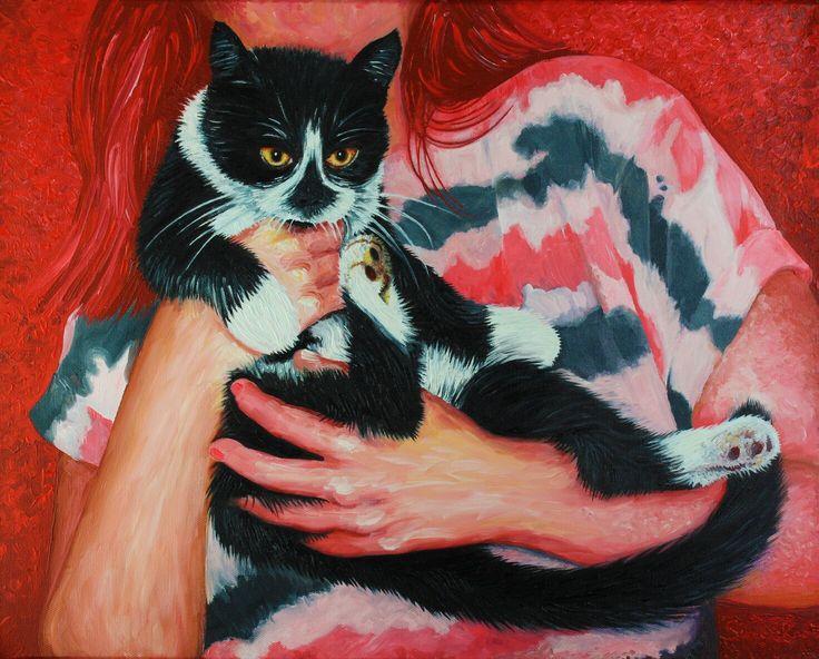 Black white #cat painting by Knott artist