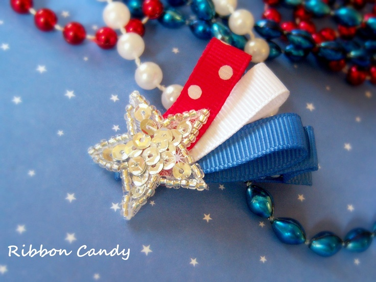 Patriotic Shooting Star Hair Clip - Red White and Blue - Fourth of July Hair Bow - non slip - sequins. $4.25, via Etsy.