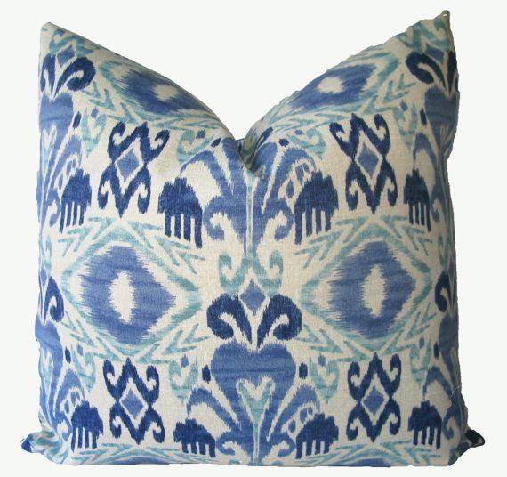Decorativer Outdoor Ikat Pillow Cover, Blue, Aqua, 18x18, 20x20, 22x22 Or