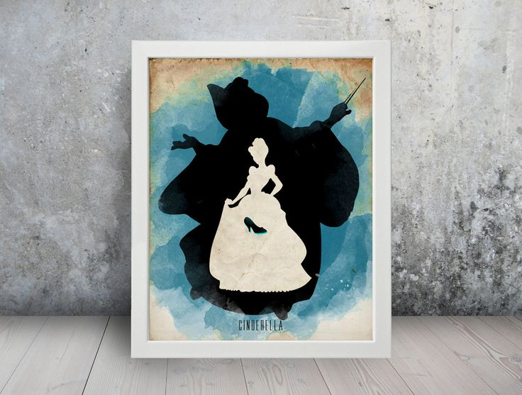 Cinderella Poster 1 Watercolor Minimalist Print Silhouette Poster Home Decor Art Disney
