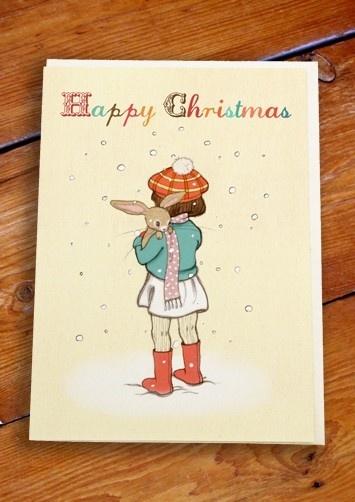 Prachtige dubbele Kerstkaart van Belle & Boo.    Rode envelop inbegrepen.