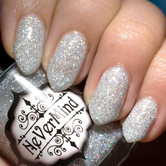 Long Coffin Holographic Silver press on nails with