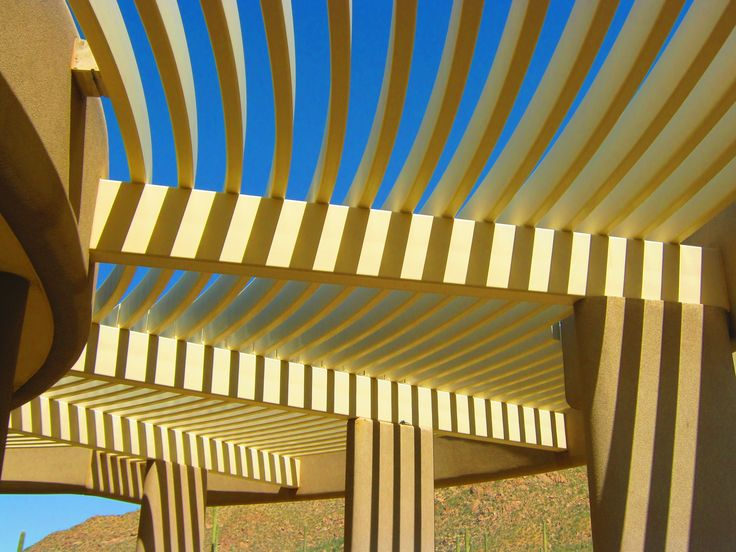 Boyce-Thompson Arboretum, Arizona #1  - My parents showed me around Arizona, where they've spent many winters - one of the highlights of my life. It's a real Garden of Eden.. samples of forests and deserts from around the world. This is the Visitor's Center building..  the architect made bitchin' use of the desert sun...