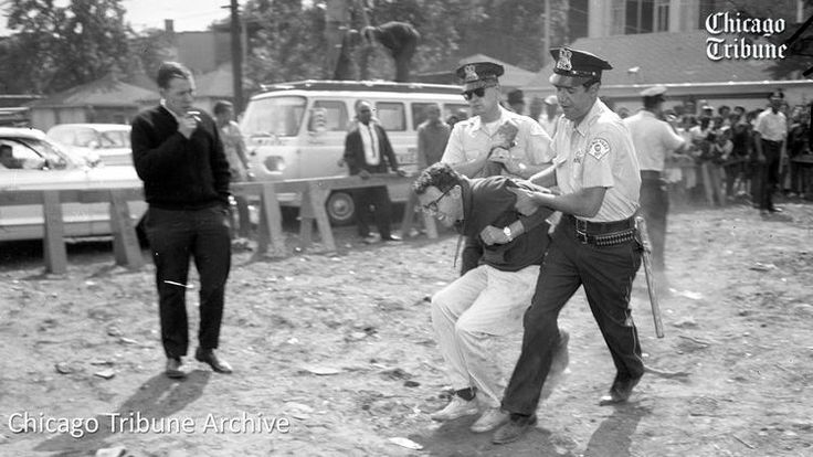 Protesting school segregation in 1963, Bernie Sanders arrested.