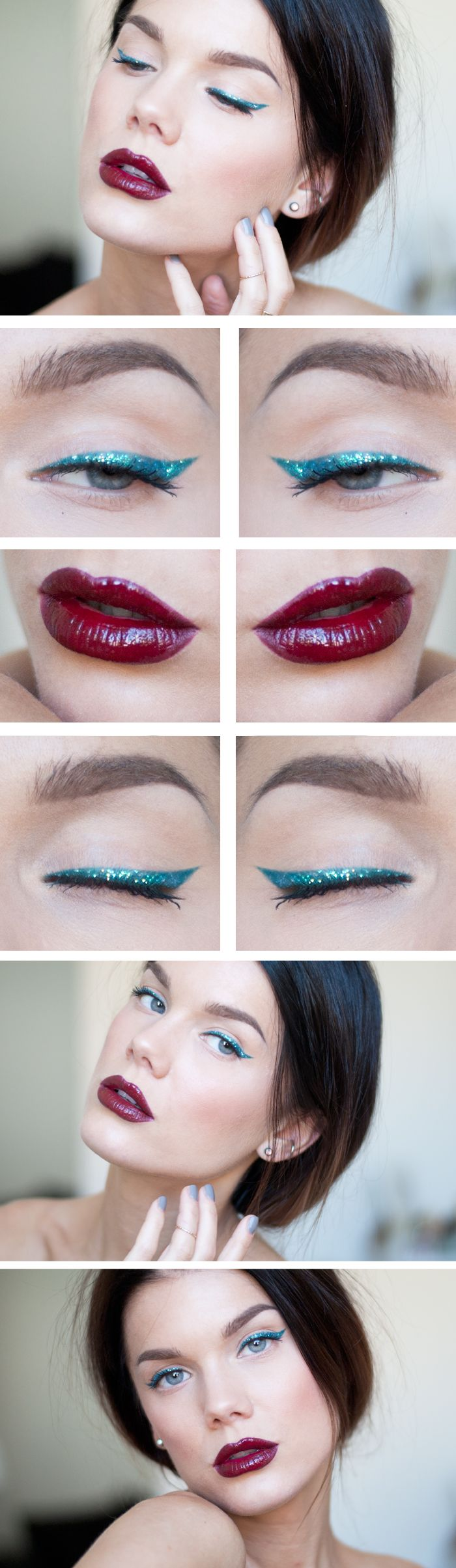 """Today's Look : """"Back in Business"""" -Linda Hallberg (a very glamorous look in spite of very few products being used! A green eyeliner, glitter, and a dark bold lip.) 08/20/13"""