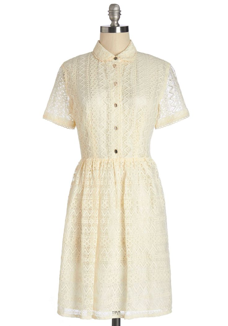 Tickle the Ivory Dress. The concerto you play certainly wows listeners, but this cream-colored shirtdress fills the room with pure delight! #cream #modcloth