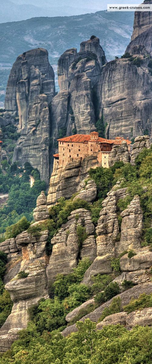 The Monastery of Rousanou looks out onto the enormous sandstone pillars of the Meteora area of #Greece...absolutely incredible! #travel #wanderlust