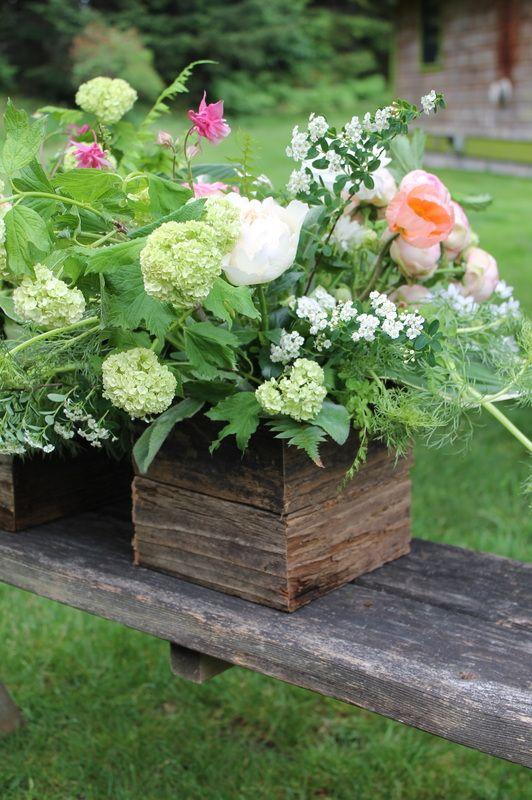 rustic and gardeny spring centerpiece in reclaimed wood box by Flying Bear Farm - www.flyingbearfarmcom