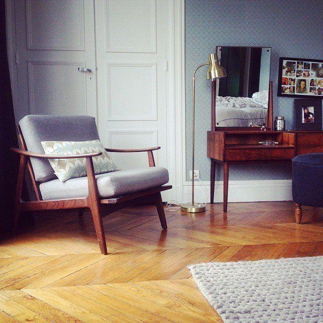 Design danois, décoration scandinave, fauteuil vintage gris, boudoir #madecoamoi
