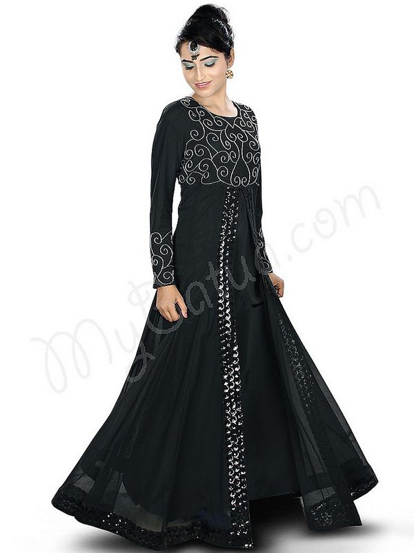 Beautiful Handwork Embroidered Black Party Wear Abaya | MyBatua.com   Amirah Abaya !  Style No : AY-334  Shopping Link : http://www.mybatua.com/amirah-abaya  Available Sizes XS to 7XL (size chart: http://www.mybatua.com/size-chart/#ABAYA/JILBAB)   •	Party wear Abaya with round neckline •	Front slit with lace detailing •	Bead hand embroidery in front •	Straight sleeves with matching embroidery