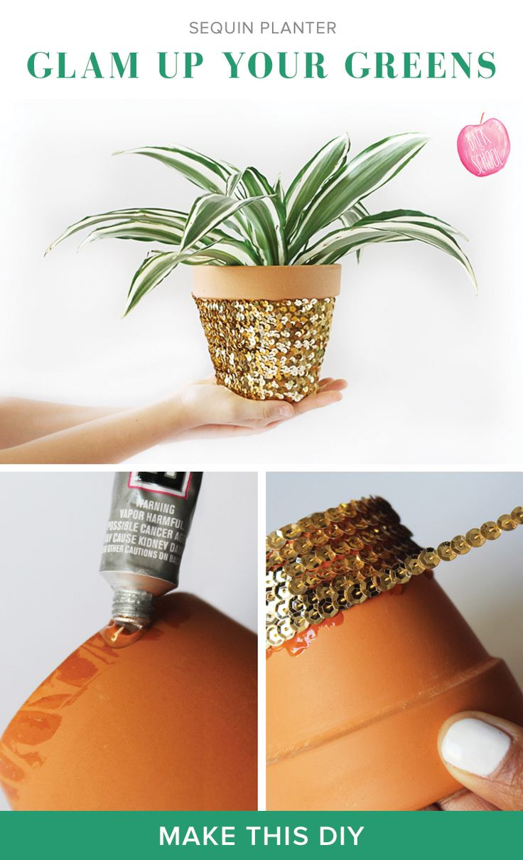 Doing it this weekend: make your garden even a bit more glam with sequins, glitter, or rhinestones around the pot! #diy #garden #homedecor