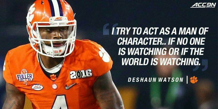 DeShaun Watson. So proud of this young man. A great representative for Clemson, for college football and young people in America.