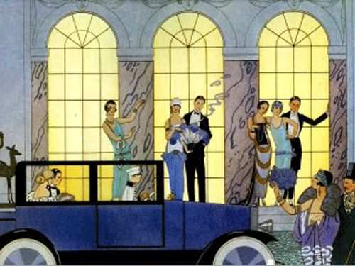 """Perfect illustration of dresses, hairstyles and cars: flapper dresses for the bride and bridesmaids, short hair (""""small head"""") and headbands, preferably with feathers; brooches, maybe long gloves?   Getaway car from """"Elegant Journey"""" Company, a 20s/30s Stutz or Rolls limousine"""