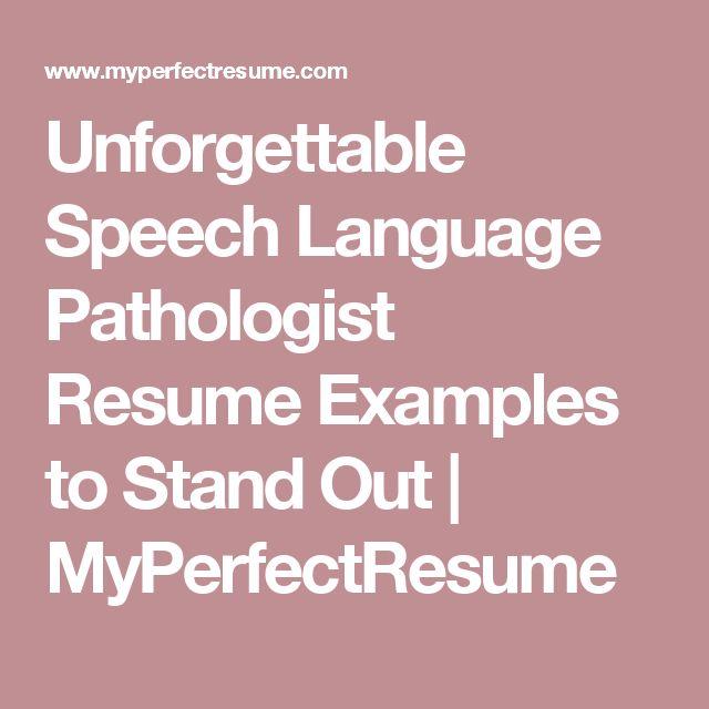 7 best Speech Language Pathologist Resume images on Pinterest - sample speech pathology resume
