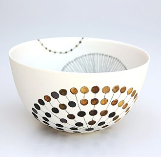 white and gold bowl by Tania Rollond