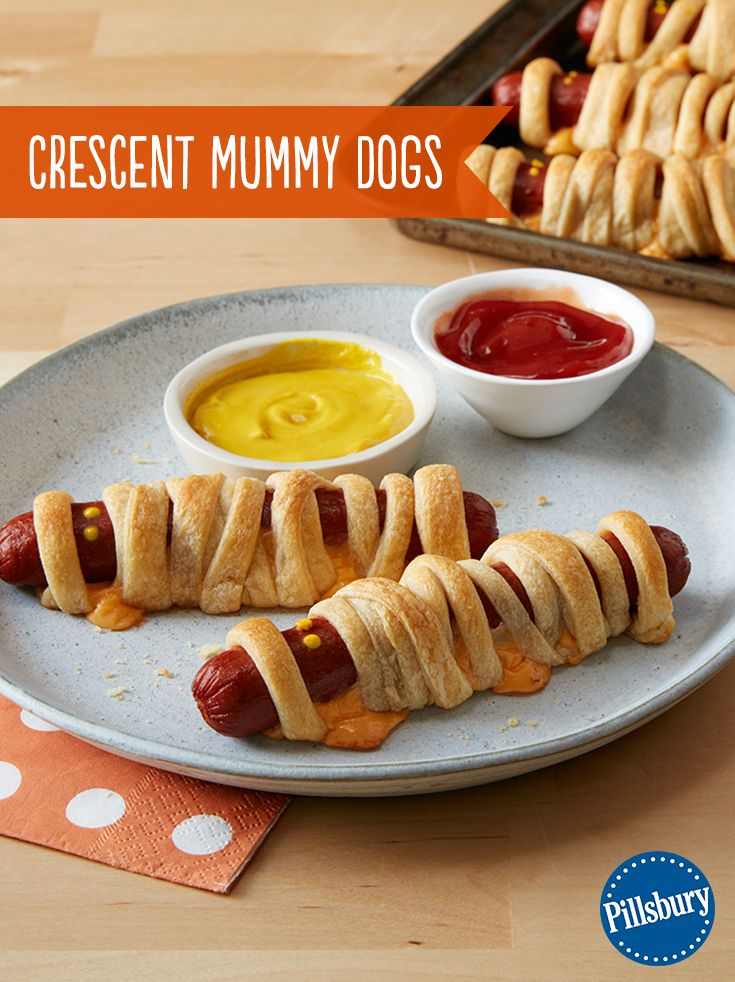 Moms love mummies! Wrap up some fun with the spookiest crescent dog around! Ketchup and mustard eyes are the finishing touch to this kid-favorite Halloween dinner.