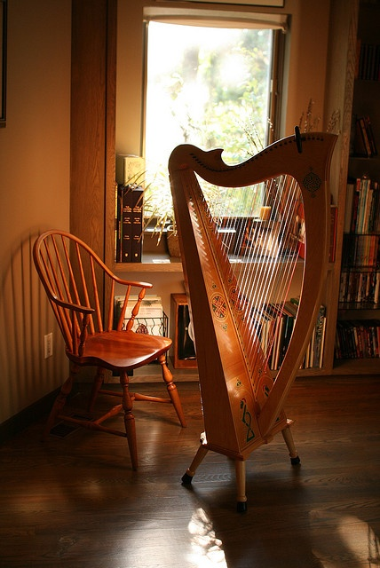Harp with wooden features in the background, with backlight