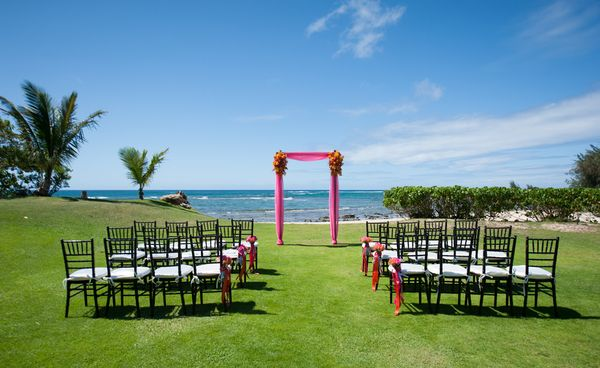 Chiavari Chairs at the Ceremony (Loulu Palm Estate on the North Shore of Oahu)