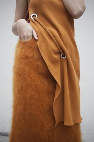 Faustine Steinmetz Handwoven Mohair Skirt in Orange | Oroboro Store | Brooklyn, New York