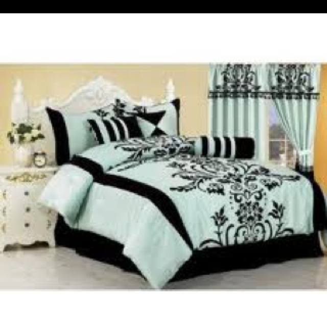 : Queen Size Beds, Aqua Blue, Beds Skirts, Duvet Covers, Comforter Sets, Home Kitchens, Chezmoi Collection, Beds Sets, Black Floral