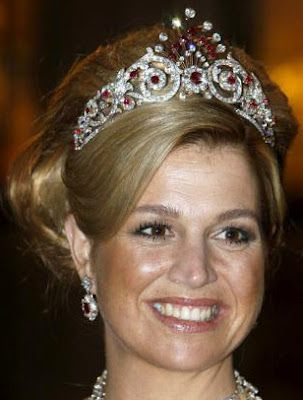 Ruby Peacock Tiara and ruby and diamond earrings from the parure worn by HRH Princess Maxima of the Netherlands