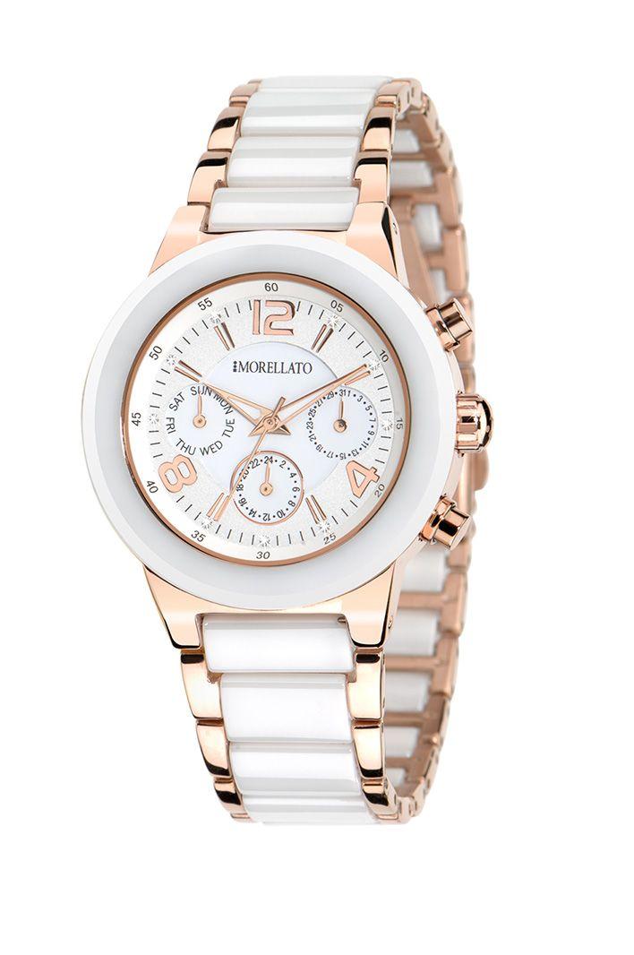 Dámské hodinky Morellato Firenze R0153103510  Stylové dámské hodinky značky Morellato jsou vybaveny bateriovým strojkem Miyota 2035. Ciferník hodinek je bílé barvy se zlatým číselníkem s čirými krystaly. Hodinky jsou vybaveny minerálním sklíčkem. Pouzdro hodinek je vyrobeno z chirurgické oceli a keramiky. Hodinky znázorňují datum a den.