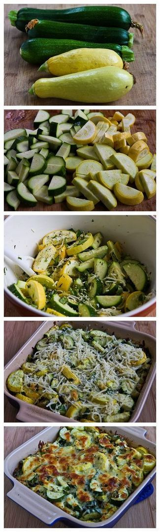 Easy Cheesy Zucchini Bake (Low-Carb, Gluten-Free)   2 medium-sized zucchini, in slices 2 medium-sized yellow squash, cut in slices or half-moon slices 2-4 T chopped fresh basil (or even less, depending on how much you like the flavor of basil) 2 T thinly sliced green onion 1/2 tsp. dried thyme 3/4 tsp. garlic powder 1/2 cup + 1/2 cup low-fat white cheese (I used Pizza Cheese, which is a low-fat blend of Mozzarella, Provolone, Romano, and Parmesan) 1/2 cup coarsely grated Parmesan