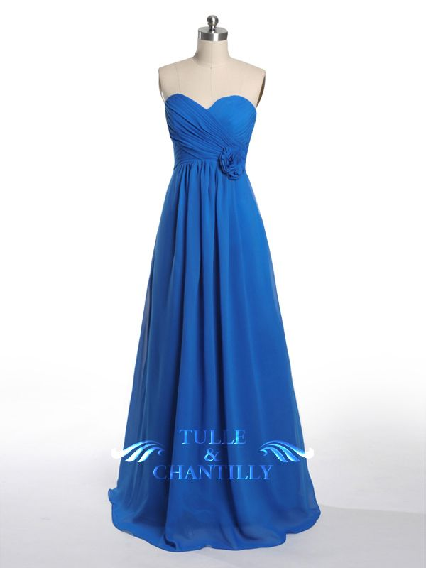 Sweetheart Ruched Long Royal Blue Bridesmaid Dresses